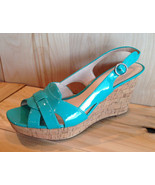 NEW Franco Sarto Turquoise Time Casey Wedges Pl... - $69.29