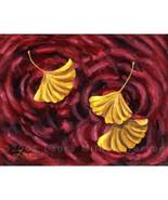 Yellow Gingko Ginkgo Leaves Burgundy Dark Red W... - $109.00