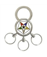 ORDER OF THE EASTERN STAR MASONIC 3-RING KEYCHAIN - $9.69