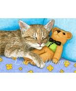 ACEO art print Cat #380 teddy bear by Lucie Dumas - $4.99