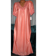 Apricot Orange Long Nightgown S Hi Back Lace Tr... - $22.00