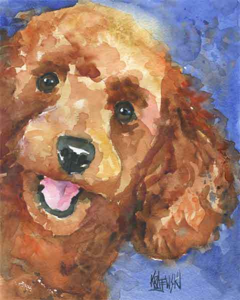 Poodle Art Print Dog 11x14 Signed by Artist Painting