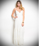 Off White Tiered Maxi Dress with lace up back -... - $36.99