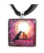Black Cat  Tortoiseshell Cherry Blossoms Zen Ro... - $32.99