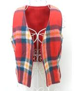 Vintage VEST Tartan PLAID wool REVERSIBLE red G... - $80.02
