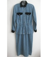 Long blue denim dress Peplum VTG 6 Maxi Black v... - $49.99