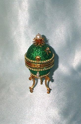 Decorated Duck Egg Emerald Swarovski Butterfly Jewel Box