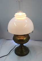 Vintage Electrified Brass Oil Lamp with Large M... - $123.70