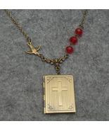 Handmade CROSS BOOK LOCKET PENDANT & BIRD & RED... - $14.99