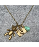 Handmade BEAR & CAMERA & TURQUOISE NECKLACE - $11.99