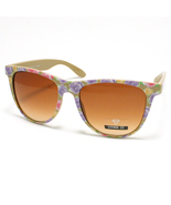 FLORAL Vintage Retro Sunglasses FLOWER PRINT BROWN - $9.95