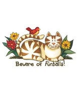 Beware Of Furballs Cat Tshirt  Sizes  White - $7.57 - $11.34