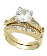 3 ct AAA Quality Cz Wedding Ring Set Yellow Gol... - $19.98