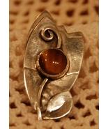 Gardella Sterling Silver Amber Cab Leaf Brooch - $40.00