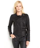 BB Dakota Sz L Leather Jacket Lux Raw Edge Drap... - $150.00