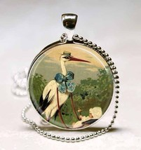 Vintage Victorian Stork and Baby Carriage Glass... - $10.99