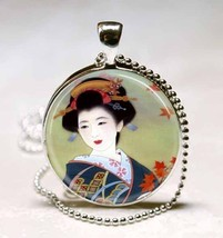 Japanese Geisha Oriental Handcrafted Photo Glas... - $10.99