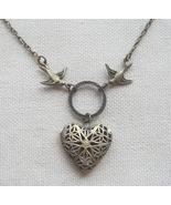 Handmade  FILLIGREE HEART LOCKET PENDANT & SWAL... - $12.99