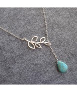 Handmade TURQUOISE DROP & LEAF NECKLACE  - $12.99