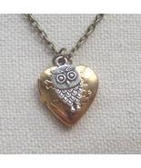 Handmade HEART LOCKET PENDANT & LITTLE OWL CHAR... - $12.99