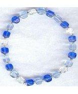 Sapphire Light Blue AB Czech Cube Bead Bracelet... - $9.99
