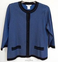 Exclusively Misook Blue Black Knit Jacket sz L - $143.05