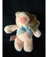 Mary Meyer Tippy Toes Finger Puppet Pig Plush Stuffed Animal Blue Gingham Bow - $9.98
