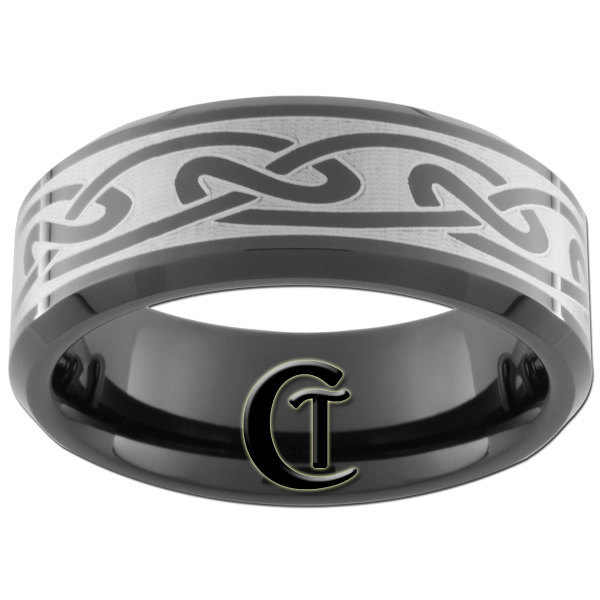 8mm Black Bevel Tungsten Carbide Celtic Design Ring Sizes 5-15