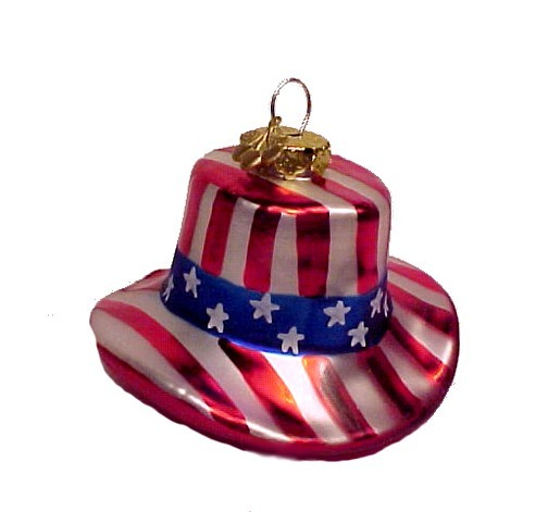 Cherry Designs Blown Glass July 4th Ornament USA Flag
