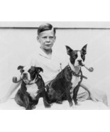 Boy With Smoking Boston Terrier Dogs! Vintage 8... - $19.99