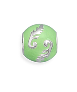Sterling Silver Story Beads Green Bead with Lea... - $33.00