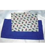 Blue Floral Fabric Fabric and Solid Blue Cotton... - $9.99