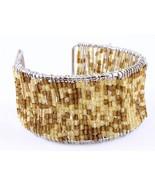 Seed Bead cuff fun summer fashion bracelet brown - $10.88