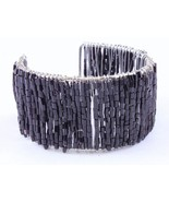 Seed Bead cuff fun summer fashion bracelet black - $10.88