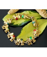 Vintage Elephants Links Bracelet Gold Tone Enam... - $18.95