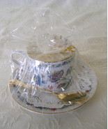 Candle in a China Teacup w/Saucer and Spoon, Va... - $25.00