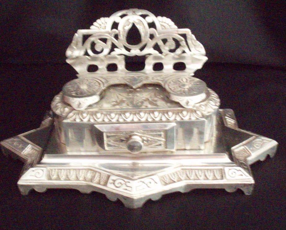 double inkwell desk set nickel plated Victorian antique