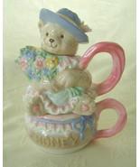 Tea for One Set, Teddy Bear w/Honey Pot, Cerami... - $22.00