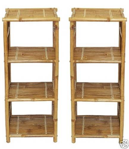 Bamboo Shelf End/Accent Tables/Night Stands -Set of 2