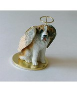 Wooden Saint Bernard angel on disc dog figurine... - $7.92