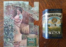 Monarch Black Tea Vintage Hinged Lid Tin Can Ch... - $49.99
