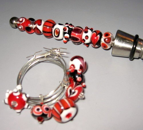 Handmade Lampwork Wine Charm/ Bottle Stopper Set