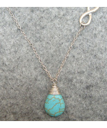 Handmade TURQUOISE DROP SILVER INFINITY NECKLACE  - $12.99