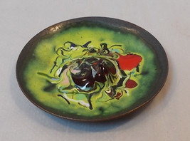 Vintage Mini Enameled Copper Tray-3-7/8