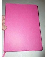 JUMBO BRIGHT PINK LEATHERETTE FLEXI COVER RULED... - $18.99