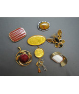 Lot 6 Retro VTG Colorful Brooches Bezel Set But... - $24.94