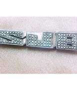 Sterling silver tie clasp with sparkling cut si... - $7.00