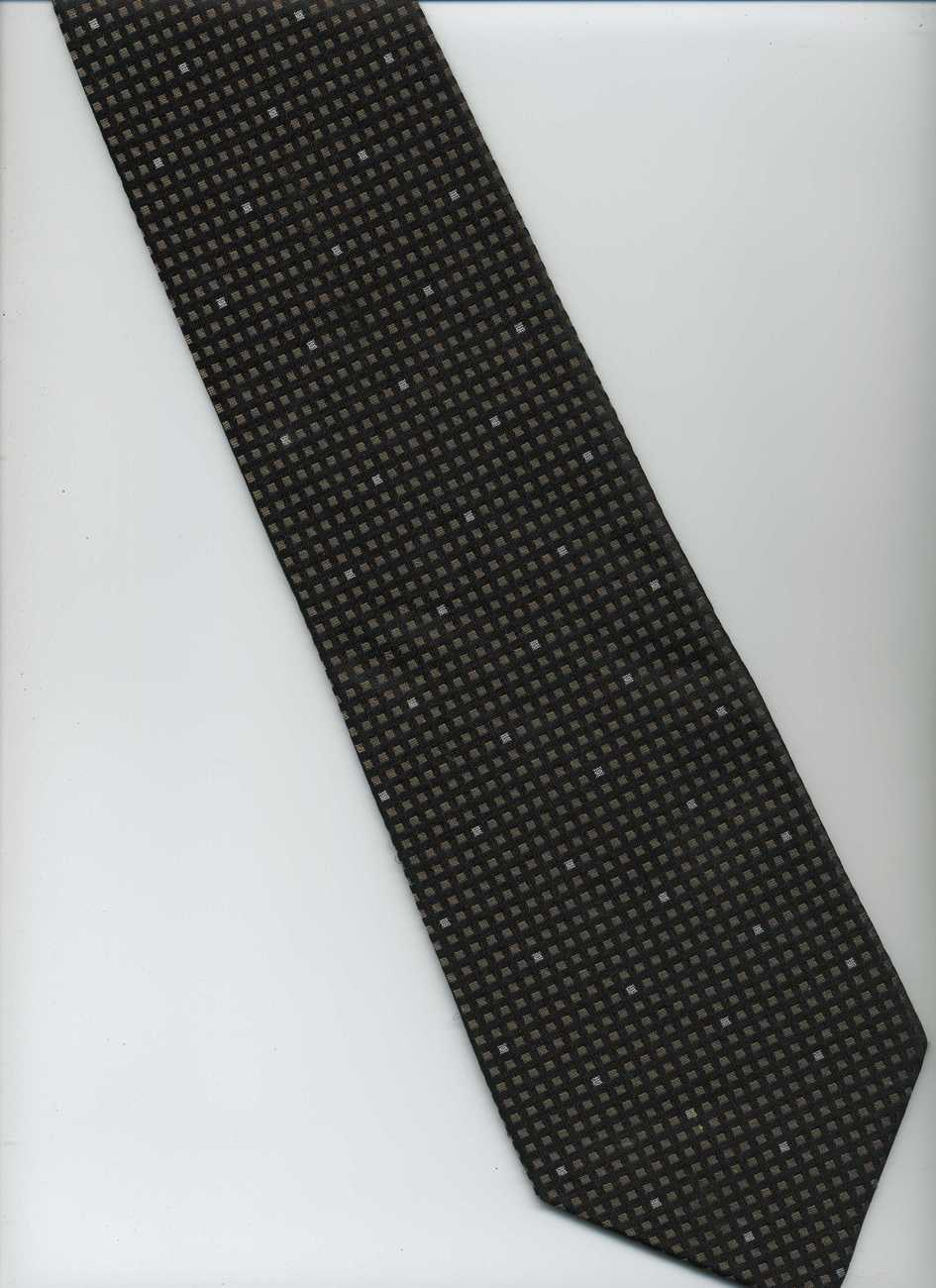 CALVIN KLEIN Tie   Black  Beige  Silver   Check   Polka Dots Patterns Silk Tie