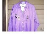 LAS OLAS L/S SHIRT+TSHIRT~LAVENDER PANSIES GING... - $28.66