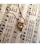 Heart With Cross Goldtone Necklace 16in Chain V... - $11.49